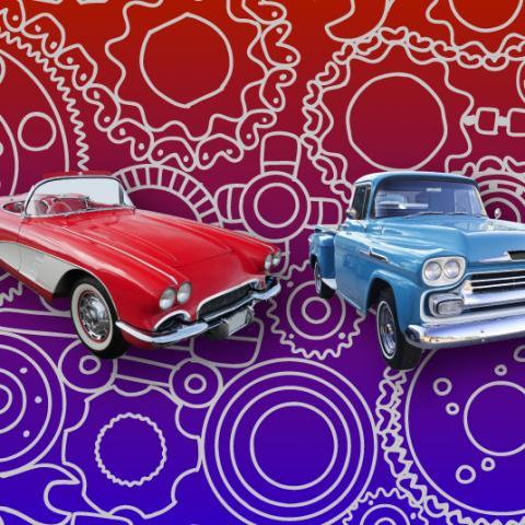Several classic cars on a graphical background